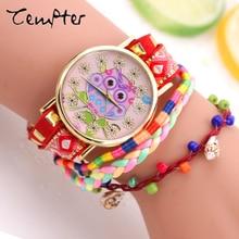 2017 New Fashion Women owl Bracelet Watch Quartz Gift Watch Wristwatch Women Dress Leather Casual Bracelet Watches Reloj Mujer