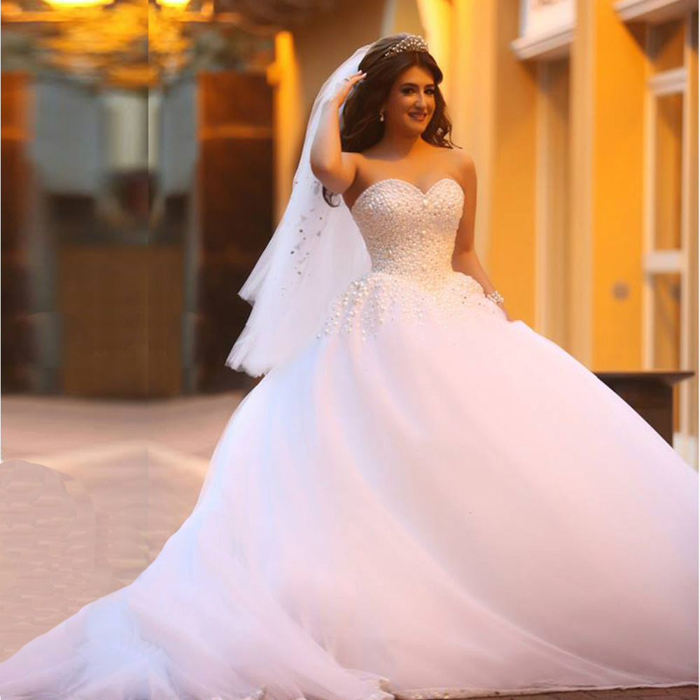 Fashionable Sweetheart Ball Gown White Crystal Pearl Wedding Dresses ...
