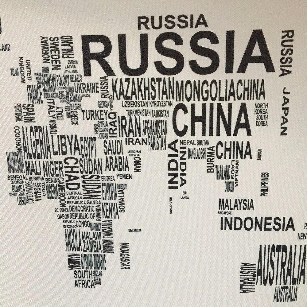 Svartvitt Världskarta Kanfastryck Brev Konst Posters Tryck Stor - Heminredning - Foto 4