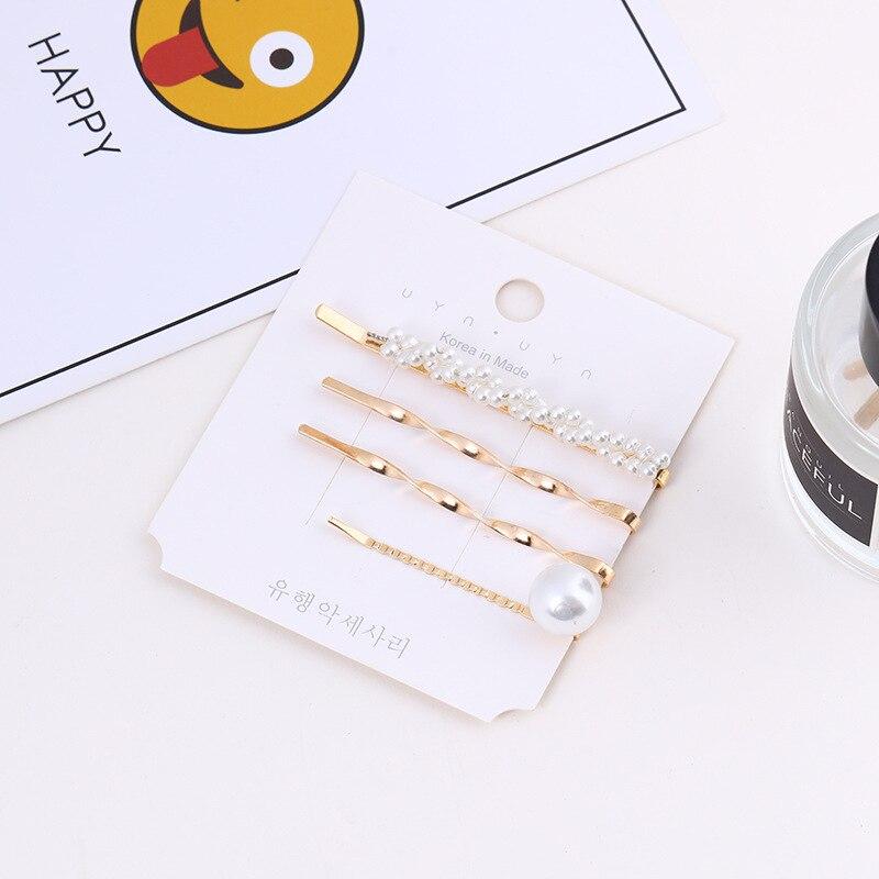 4 Pcs set New Korean Sweet Girl Fashion Simple Hairpins Women Exquisite Imitation Pearl Combination Bangs Clip Hair Accessories in Women 39 s Hair Accessories from Apparel Accessories
