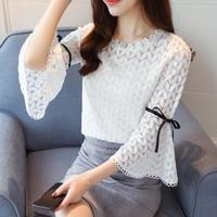 Lace Chiffon Blouses Long Sleeve Women Shirt Ladies Elegant Plus Size Loose Femme Blusas White Pink