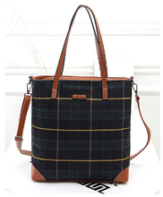 New 2015 Fashion canvas big size women bag plaid pattern Elegant women messenger bags casual sexy daily women handbag