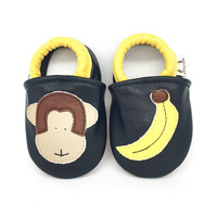 AdelaFlower Black Leather Soft Sole Baby Boy Shoes Baby Loafer Toddler Slippers Baby Moccasins Monkey Banana