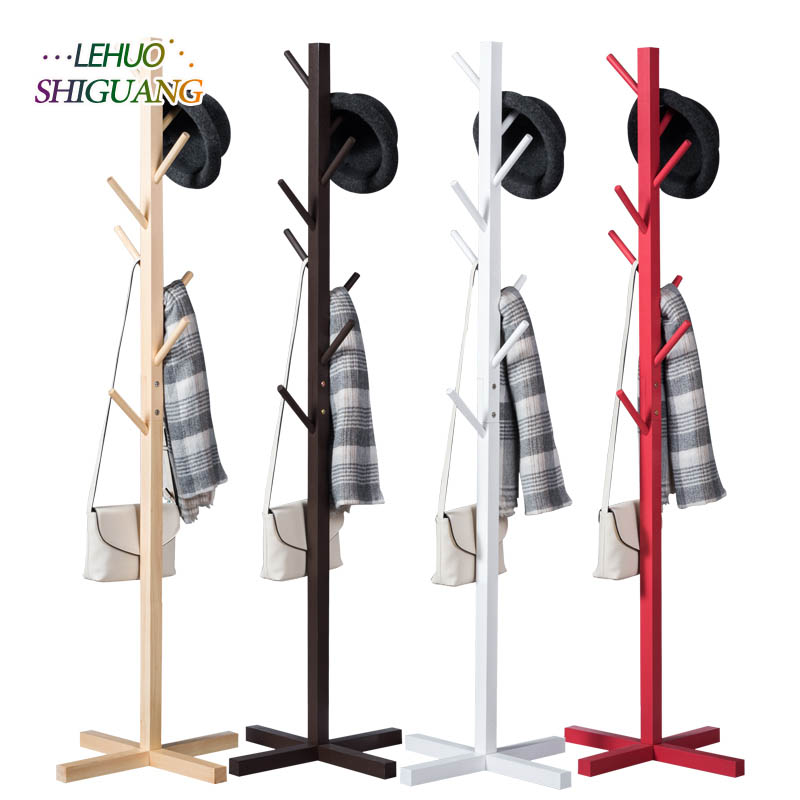 Simple solid wood floor coat rack simple hanger fashion clothes rack bedroom storage hanger light does not take up space 2016 new coatrack floor hanger bedroom floor racks non wood special offer fashion simple coatrack