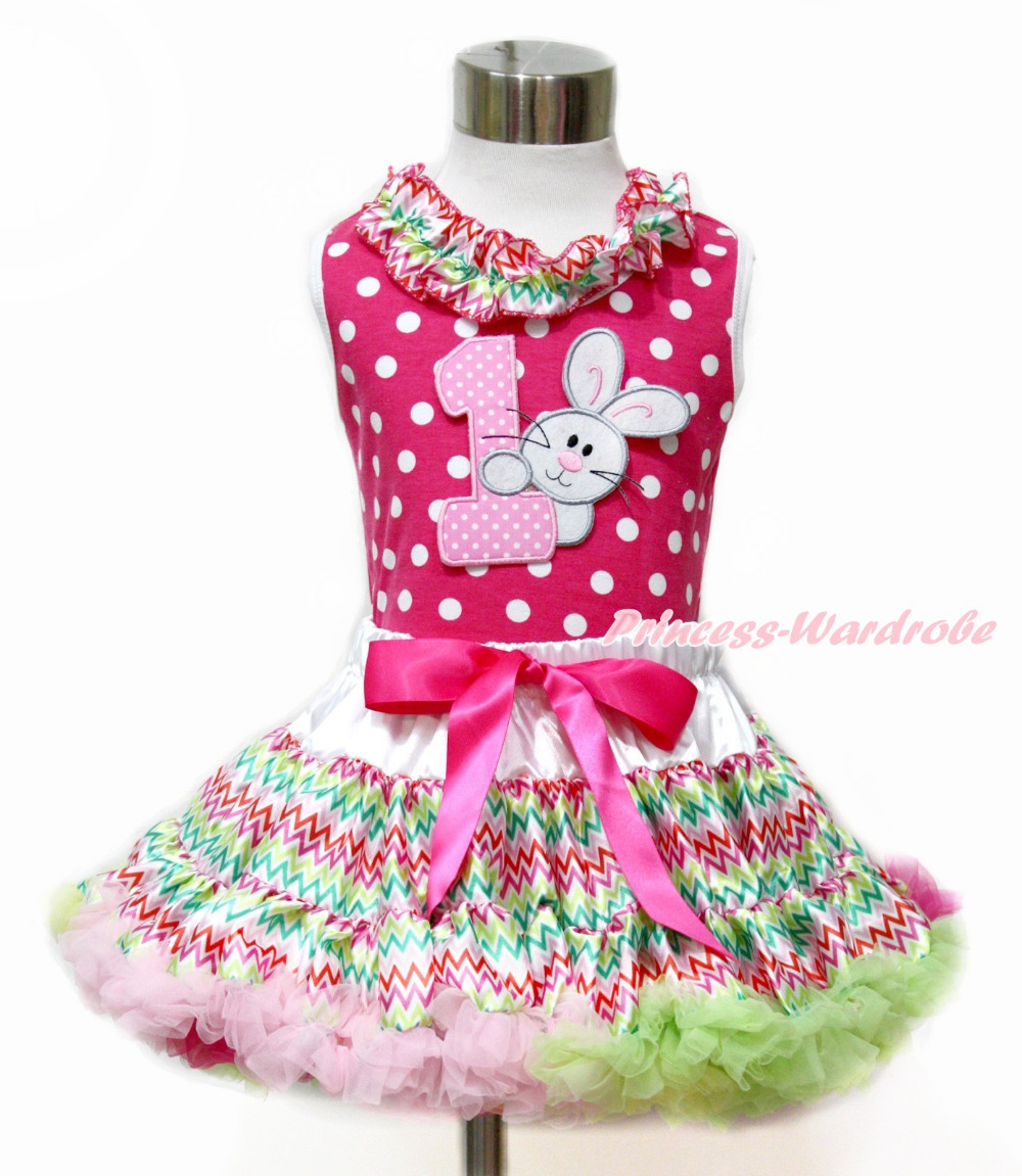 Easter 1ST Rabbit Bunny Hot Pink White Dot Top Rainbow Stripe Pettiskirt 1-2Y MAMH167 rhinestone happy easter white top shirt hot pink bunny rabbit satin trim baby girl skirt set 1 8y mapsa0494