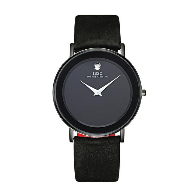 2016 Marca IBSO Relojes de Pulsera Para Hombres Correa de Cuero Genuina Reloj de Japón Movimiento de Cuarzo 30 m Impermeable Completo 2216