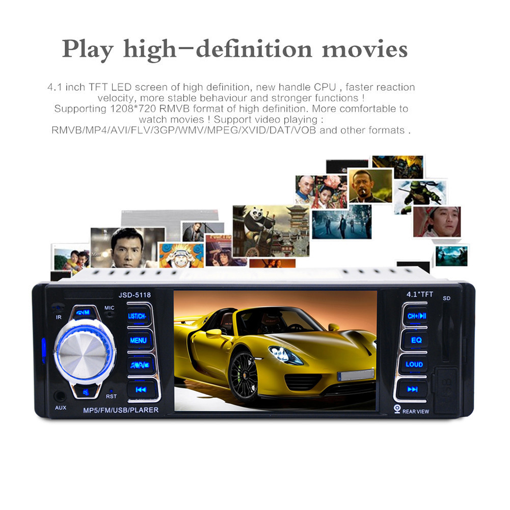 Built-in Wirel de 4,1 inci HD auto Car audio FM Bluetooth Player MP5 - Electronică Auto