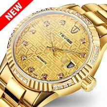 цена TEVISE Diamond Gold Watch Men Date Luminous Waterproof Clock Men Business Men Watches Automatic Mechanical Wristwatches онлайн в 2017 году
