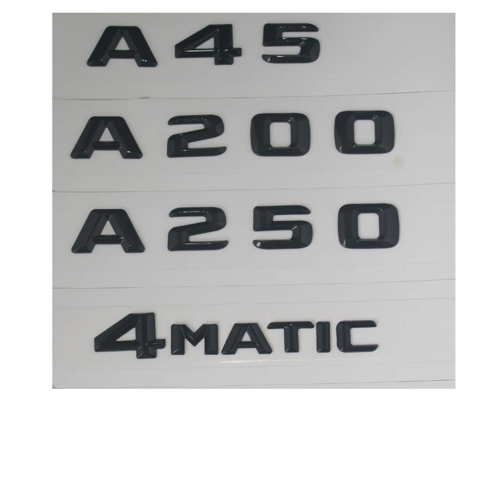 Gloss Black Trunk Letters Number Badge Emblem Emblems for Mercedes Benz A45 AMG A200 A250 A220 4MATIC