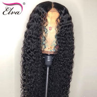 PrePlucked Lace Front Human Hair Wigs Full End Brazilian Human Hair Curly Wigs For Black Women Baby Hair Elva Remy Hair Lace Wig