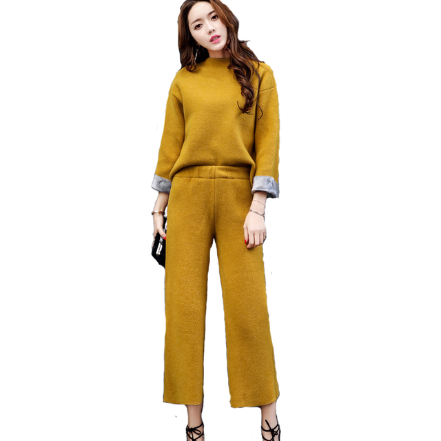 2017 spring Korean style knitted women sets high quality fashion all match suits long sleeve shirts loose wide leg pants M83