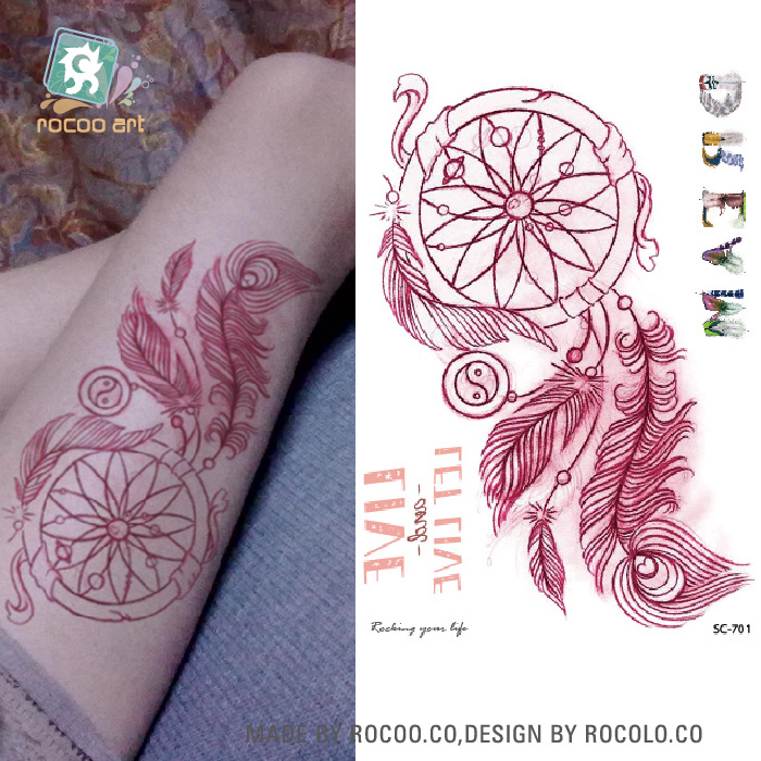 SC-701/dernière 2016 coloré capteur de rêves temporaire faux tatouage corps Art peinture imperméable temporaire Tribal tatouage autocollant