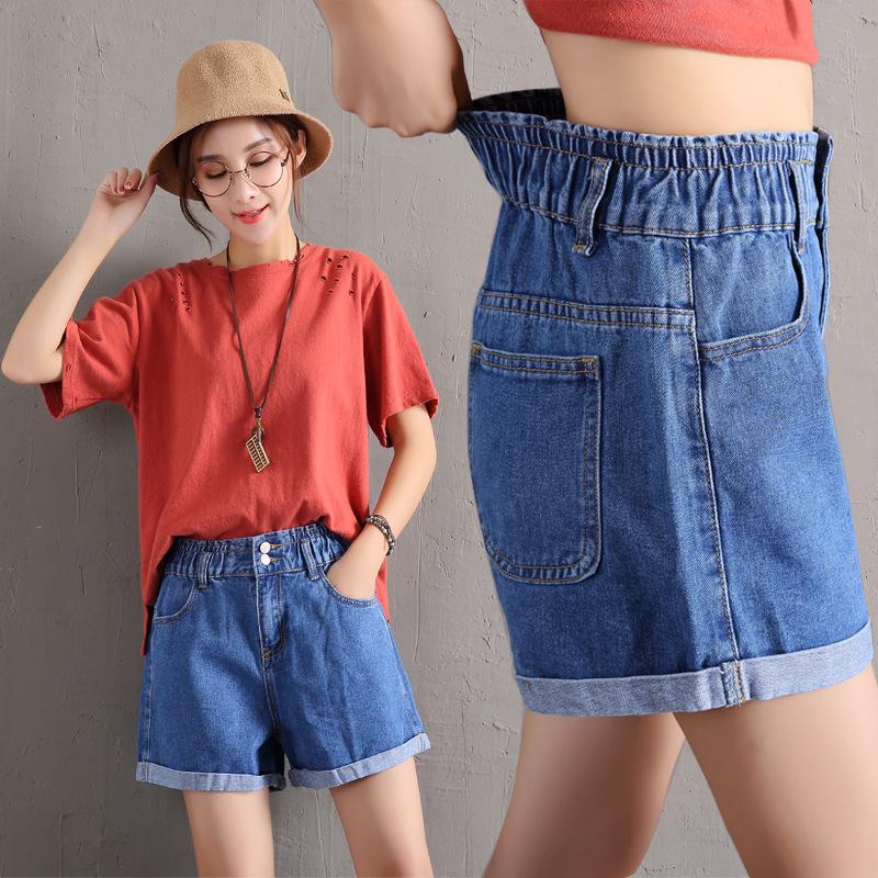 Cowboy-Shorts Elastics-Band Female High-Waist Summer Women New-Fashion for Cozy-Button