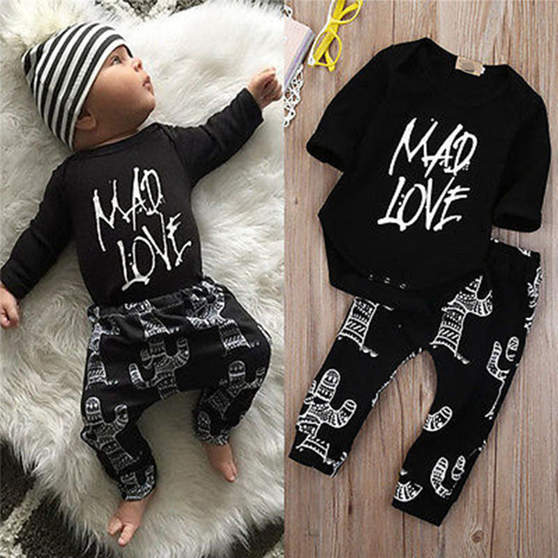 Newborn Baby Outfit 0-24M Children Clothing long sleeve Rompers+Pant 2pcs boys suit Kids Clothes Baby Girl Set Jumpsuit New A113
