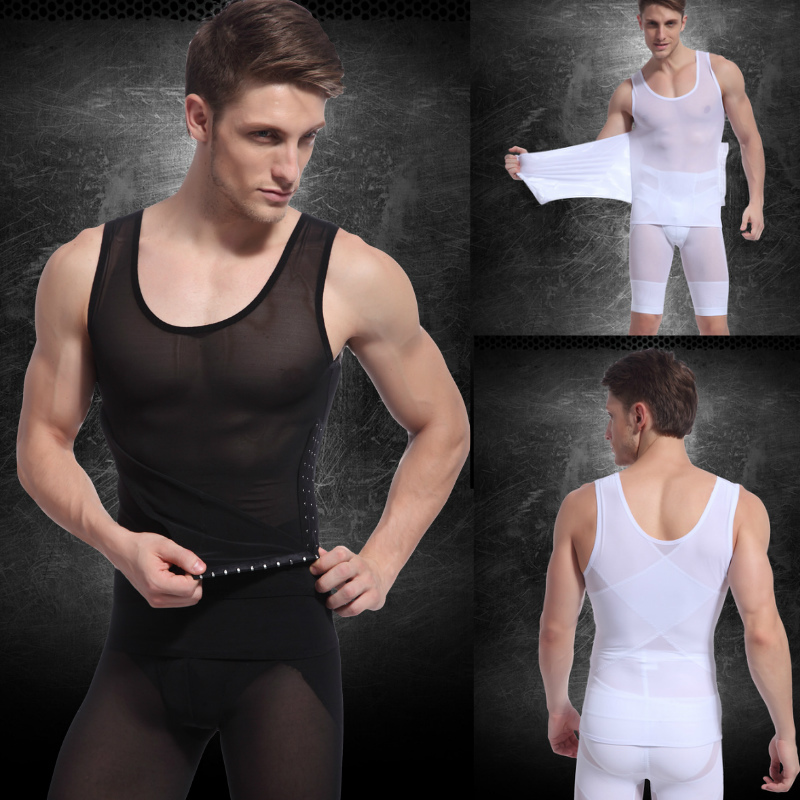 Sexy Men's slimming body shaper underwear fitness Vest body sculpting Clothing Strong mesh waist cinchers Shapers white black-in Shapers from Underwear & Sleepwears