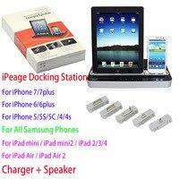 IPEGA Dupla Docking Station Orador Adaptador de Carregador para Samsung Galaxy S6 S7 S7 borda S6 Borda S4 S5 Nota 5 4 3 Mini iPad 2 3 Air 2