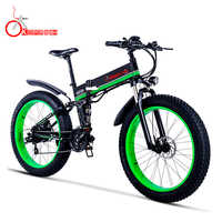 K&J-Green 1000 Power 48V12.8AH Snow Bicycle Oil Brake Aluminum Frame Folding Electric Mountain Bike Electric Bicycle