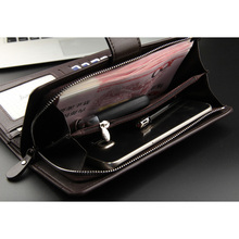 Baellerry Big Wallet Men Leather Long Purse Card Holder Vintage Male Clutch Men Wallets Money Bag Zipper Coin Phone Pocket W012