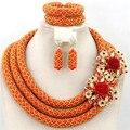 La moda de joyería de perlas de boda de Orange Crystal nigeria rebordea el collares pulsera pendientes C000621