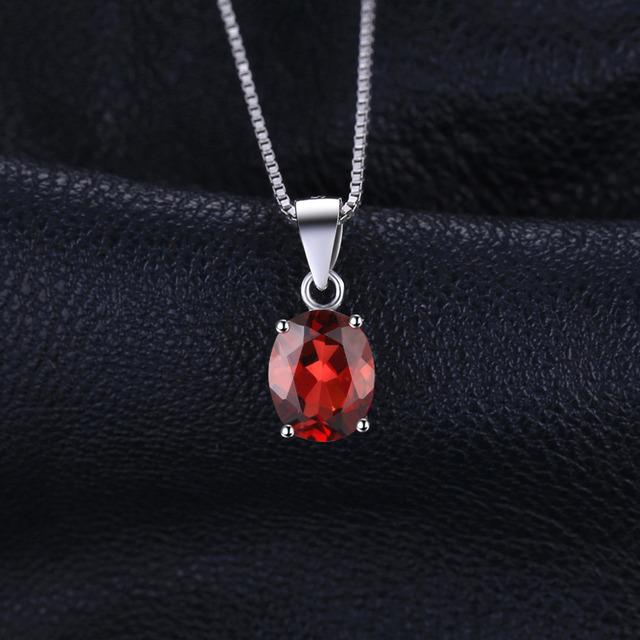 Red Garnet Birthstone Solitaire Pendant