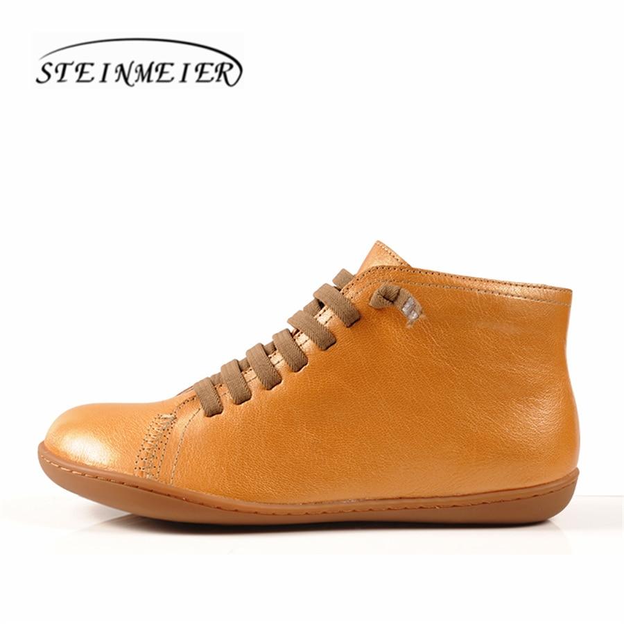 Femmes vintage main en cuir véritable plat casual bottes femelle confortable respirant tête couche vachette bottes femme chaussures