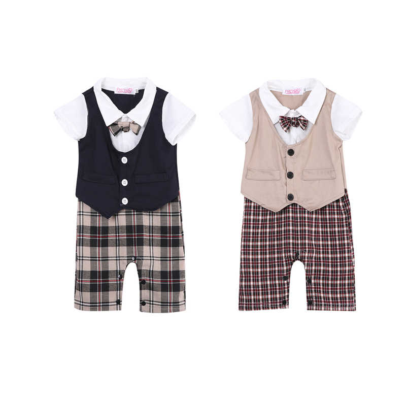 2018 Gentleman Casual Formal Newborn Toddler Baby Girls Cotton Short Sleeve Turn-down Collar Covered Button Plaid Romper 2 Style