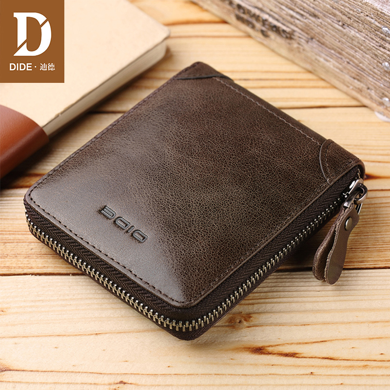 DIDE Genuine Leather Wallets For Men Women Purse Coin Purse Pockets Credit Card Holder RFID Large Capacity Zipper Wallet Male