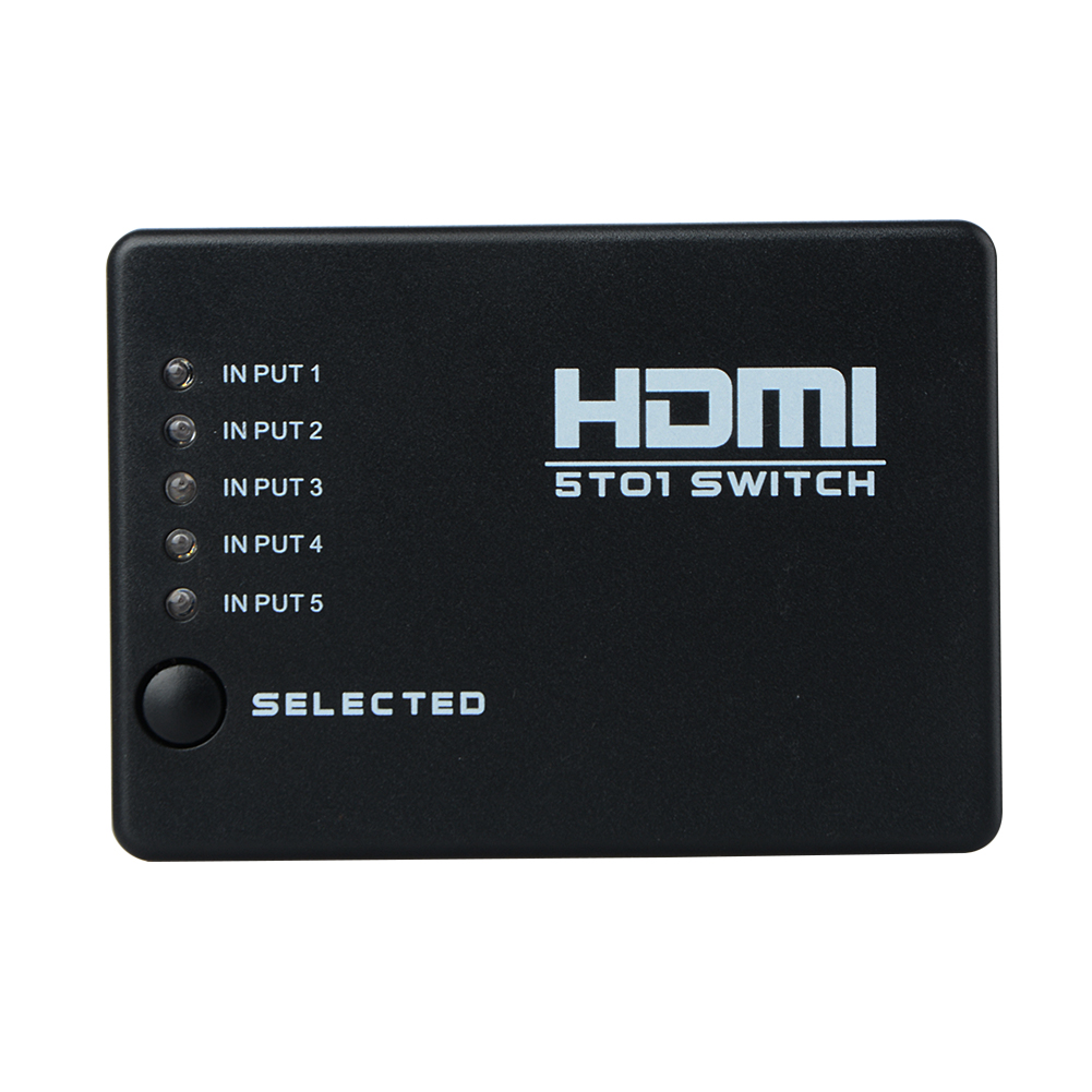 5 Port 1080P HDMI Switcher Video HDMI Switch Switcher Splitter IR Remote 5 in 1 Out Port Hub For HDTV XBOX 360 PS3 DVD