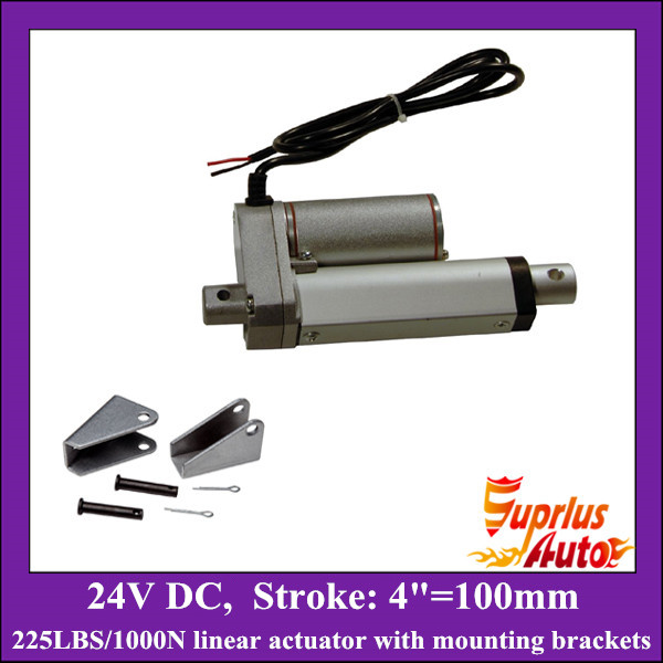4inch/ 100mm stroke DC 24v linear actuator with mounting brackets, 1000N/225lbs load electric linear actuators