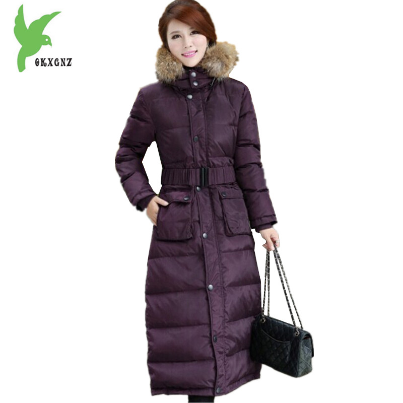 Plus size Women Winter Jackets Lengthened Down cotton Coats High Quality Hooded fur collar Parkas Thick Warm Jackets OKXGNZ 1149 middle aged women winter cotton jackets thick warm parkas plus size mother cotton coats hooded fur collar outerwear okxgnz a1238