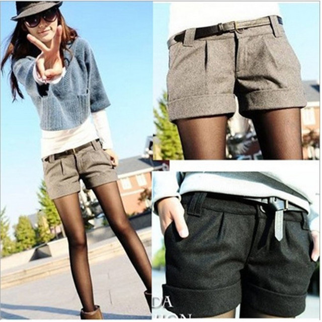 Shorts Femininos 2018 Autumn Winter Solid Slim Casual Woolen Bootcut Shorts Plus Size Warm Women Shorts