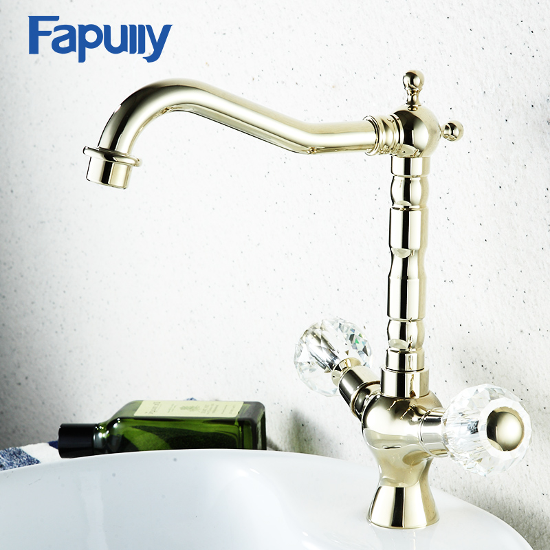 Fapully crystal handle bathroom faucets gold bathroom - Gold bathroom faucets with crystal handles ...