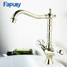 Fapully Crystal Handle bathroom faucets gold Bathroom Basin Sink Faucet Hot and Cold Water Mixer Taps