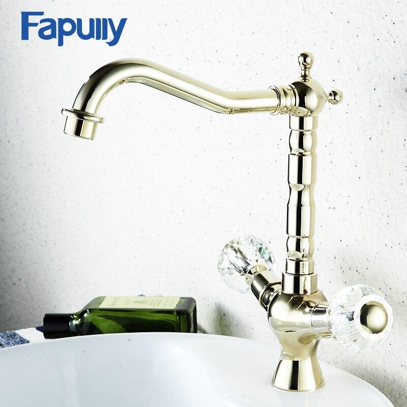 Fapully cristal poignée salle de bain robinets or salle de bain bassin évier robinet eau chaude et froide mélangeur robinets