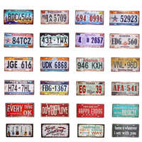 USA Vintage Metal Tin Signs Route 66 Car Number License Plate Wall Plaque Poster Bar Club Wall Garage Home Decor