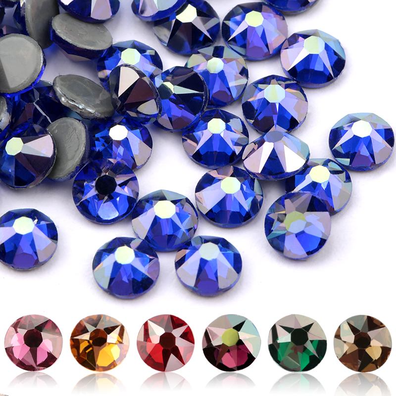 QIAO New Color Plating Series Delicate AB Color SS16 SS20 8 Big 8 Small Crystal Glass Rhinestone Hot-fix Rhinestones Gem