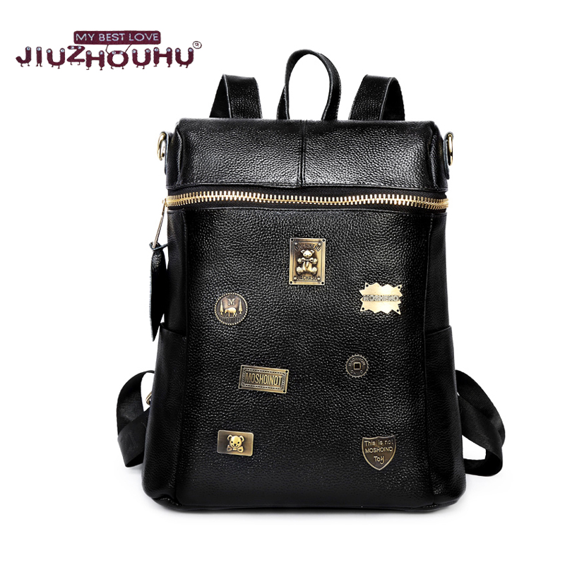 ФОТО Famous Desinger Genuine Leather Backpack Girls Daily Backpack Women Stylish Cool Fashion Metal label Large Capacity Rucksack