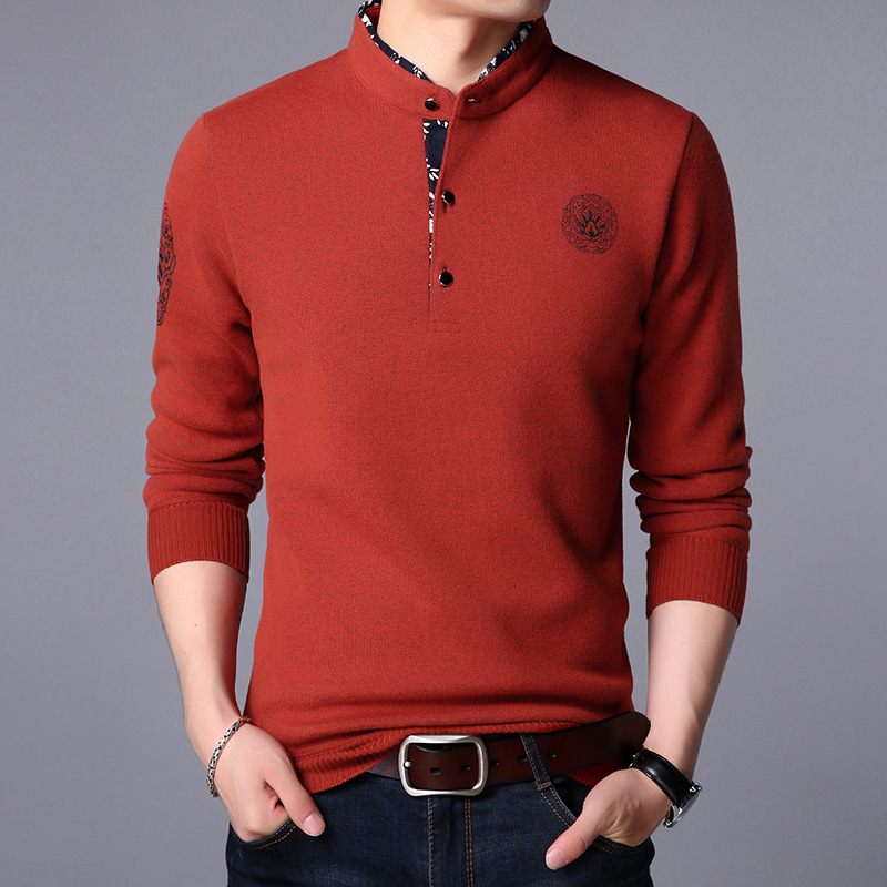 Chinese Folk Style Computer Knitted Mandarin Collar Full Pullovers Man Autumn Winter Warm Fleece Sweater Male M~3XL