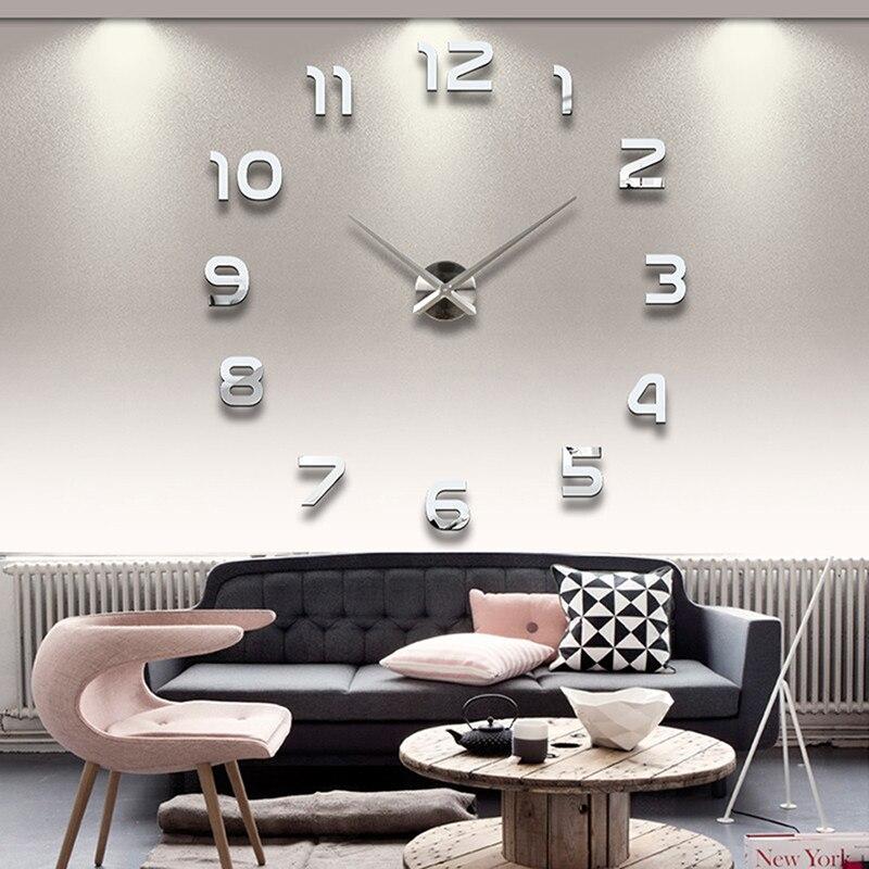 Caliente DIY gran reloj de pared 3D etiqueta superficie del espejo casa Decor De