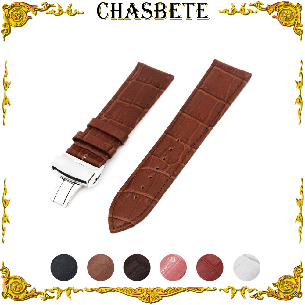 12mm 14mm 16mm 18mm 20mm 22mm 24mm Leather Watch Band for Cartier Men Women Strap Wrist Loop Belt Bracelet Black White + Tool