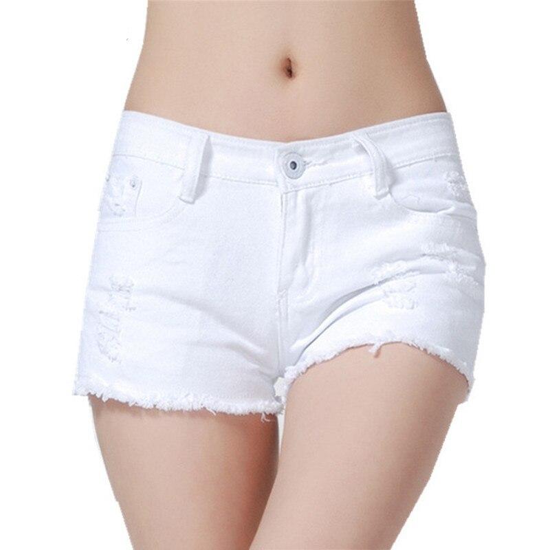 New Summer Denim   Shorts   Women Fashion Tassel Slim Mid Waist   Shorts   Brand Quality Vintage Black White Hole Plus Size   Short   Jeans