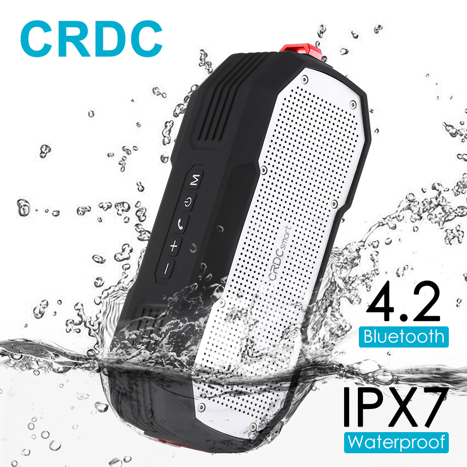 CRDC Bluetooth Speaker Waterproof 4.2 Wireless Stereo Mini Portable MP3 Player Super Bass with Mic Handsfree Column Loudspeakers