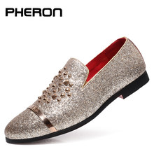 italian fashion glitter loafers men new arrival 2019 coiffeur wedding dress formal shoes men elegant party shoes men classic(China)