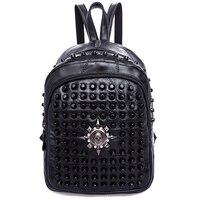 Rivets Backpack Women Genuine Leather Sheepskin Punk Style Skull Rivet Backpacks Black Bagpack Travel School Girls Backpacks
