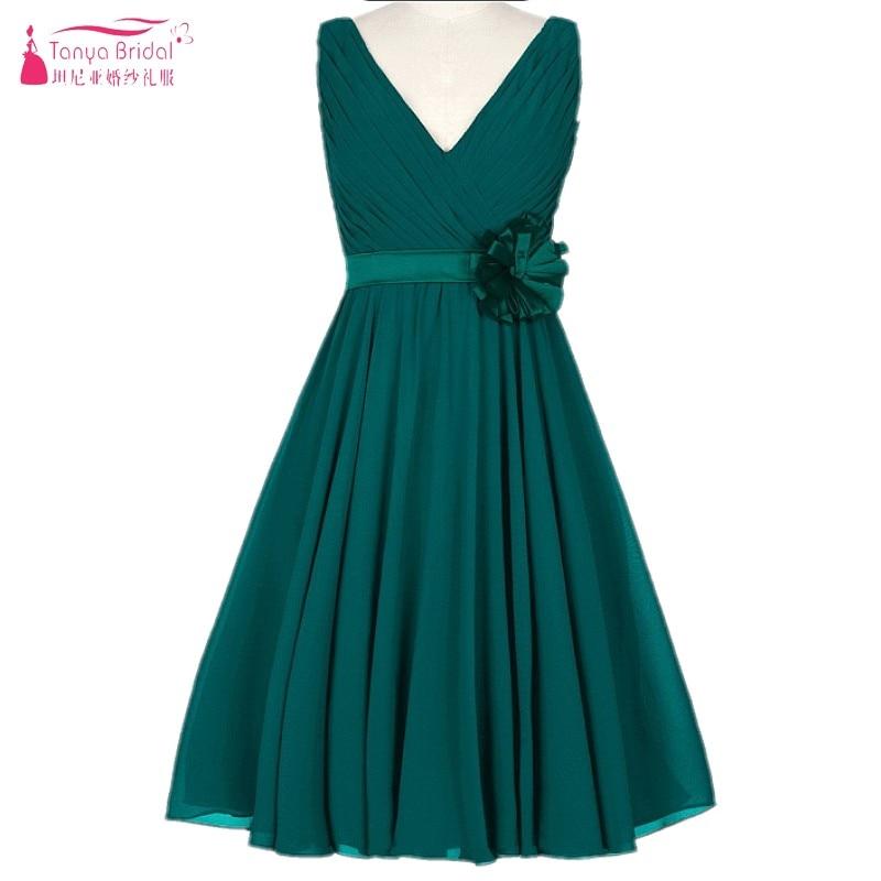 A Line Simple Chiffon Bridesmaid Dresses 2018 Beach Style Knee ...