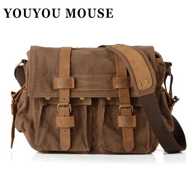 YOUYOU MOUSE Crazy Horse Leather Men's Shoulder Bag Vintage Business Fashion Messenger Bags Crossbody Men's Briefcase