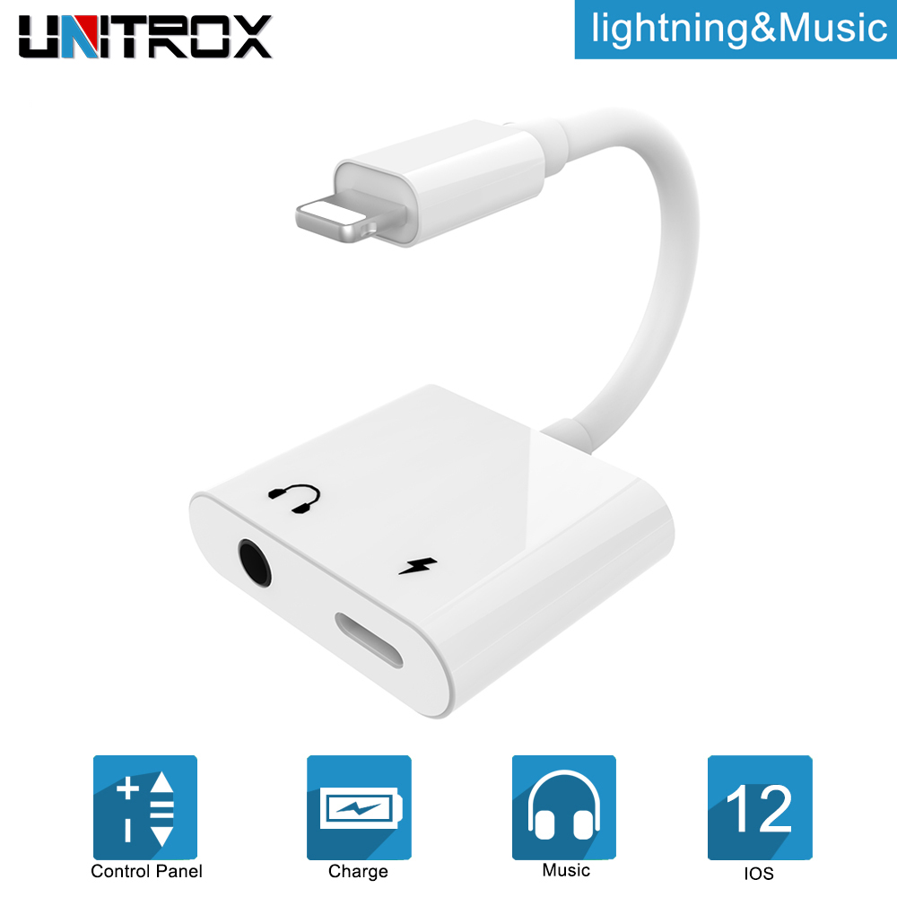 low priced ec529 7d0b6 US $7.53 53% OFF|2 in 1 for lightning to 3.5mm Audio Adapter Aux Converter  Plug for iPhone 6/6S/7/8/X/plus headphone Jack splitter Charge adaptor on  ...