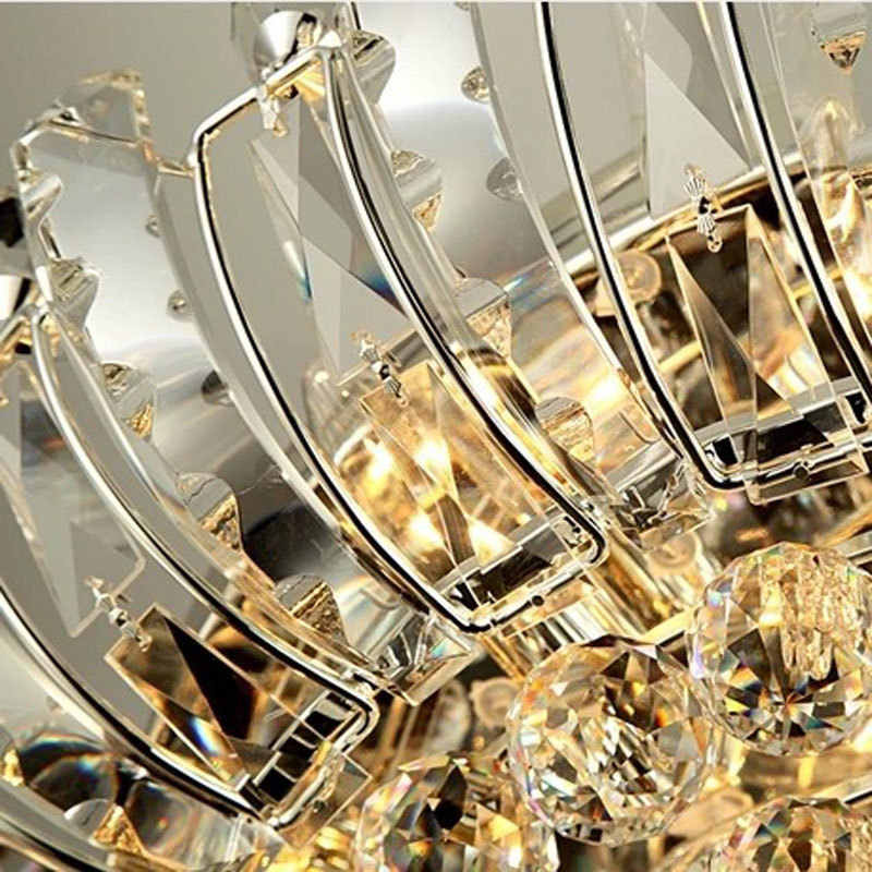 โคมไฟระย้าคริสตัลโมเดิร์นโคมไฟหรูหรา flush mount led คริสตัลเพดานโคมไฟระย้าแสงรีโมทคอนโทรล