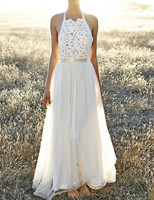 Simple Halter A Line Wedding Dress Vestido De Noiva Simples MWY 015 Backless Tulle Bridal Gowns