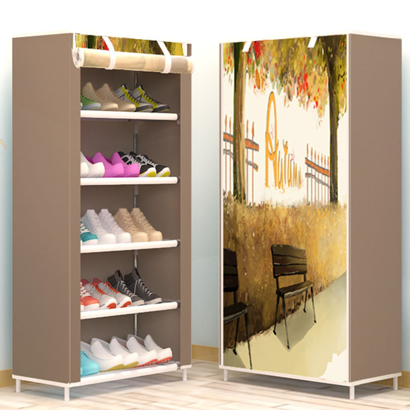 Six Layers DIY Assembly Non-woven Cloth Storage Shoe Cabinet Dustproof Shoe Rack Space Saver Shoe Organizer Shelf Home Furniture shoe rack nonwovens steel pipe 4 layers shoe cabinet easy assembled shelf storage organizer stand holder living room furniture
